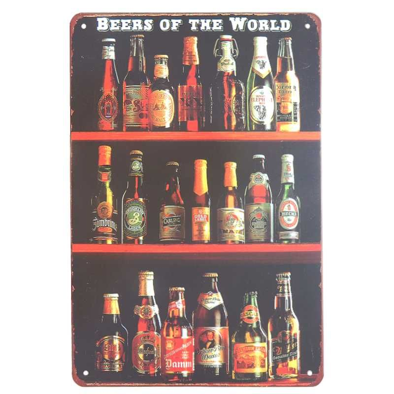 plechová retro tabuľa Beers of the World